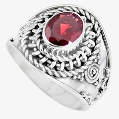 Natural purple garnet 925 sterling silver solitaire ring jewelry size 7 m86324