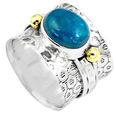 Natural apatite (madagascar) 925 silver two tone solitaire ring size 6.5 m86410