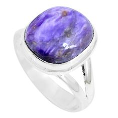6.58cts natural purple charoite (siberian) 925 silver ring size 7.5 m87634