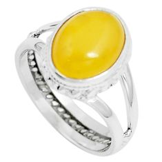 4.69cts natural yellow amber bone 925 sterling silver ring jewelry size 7 m87645