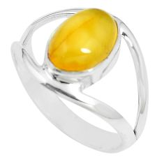 4.49cts natural yellow amber bone 925 sterling silver ring size 10 m87646