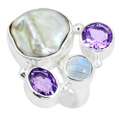 10.02cts natural white pearl amethyst 925 sterling silver ring size 7 m87801