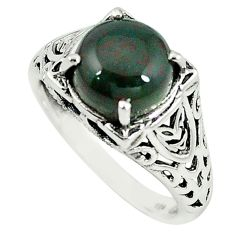 Natural green bloodstone african (heliotrope) 925 silver ring size 8.5 m8800