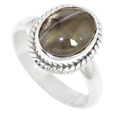 4.82cts natural cat's eye sillimanite 925 silver solitaire ring size 7 m88102