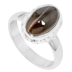 3.73cts natural cat's eye sillimanite 925 silver solitaire ring size 6 m88103