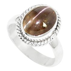 4.28cts natural cat's eye sillimanite 925 silver solitaire ring size 6 m88106