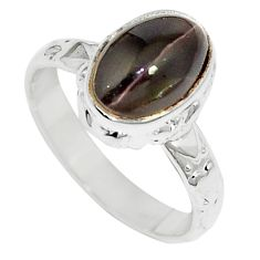 925 silver 3.51cts natural cat's eye sillimanite solitaire ring size 6 m88110