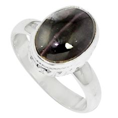 4.92cts natural cat's eye sillimanite 925 silver solitaire ring size 7 m88112