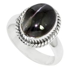 5.11cts natural cat's eye sillimanite 925 silver solitaire ring size 5.5 m88114