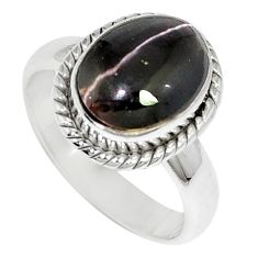 4.42cts natural cat's eye sillimanite 925 silver solitaire ring size 6.5 m88117