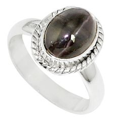 3.62cts natural cat's eye sillimanite 925 silver solitaire ring size 6.5 m88118