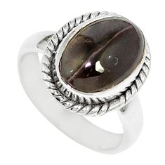 4.43cts natural cat's eye sillimanite 925 silver solitaire ring size 5.5 m88119