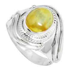 4.38cts natural yellow amber bone 925 silver solitaire ring size 8.5 m88189
