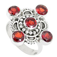 925 sterling silver 4.73cts natural red garnet round ring jewelry size 8 m88803