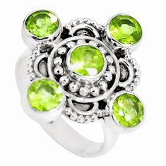 925 sterling silver 4.40cts natural green peridot round ring size 7 m88814