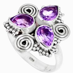 4.93cts natural purple amethyst 925 sterling silver ring jewelry size 8 m88817