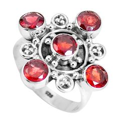 4.73cts natural red garnet round 925 sterling silver ring jewelry size 8 m88833