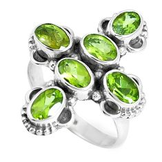 6.02cts natural green peridot 925 sterling silver ring jewelry size 7.5 m88865