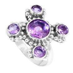 925 sterling silver 5.52cts natural purple amethyst round ring size 7 m88869