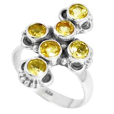 3.62cts natural yellow citrine 925 sterling silver ring jewelry size 6.5 m88889