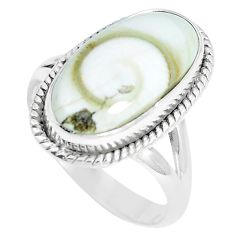 7.40cts natural white shiva eye 925 sterling silver solitaire ring size 8 m88982