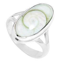 925 silver 7.40cts natural white shiva eye oval solitaire ring size 7.5 m89000