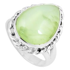 11.93cts natural green prehnite 925 silver solitaire ring jewelry size 7 m89665