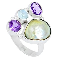 12.34cts natural white pearl moonstone 925 sterling silver ring size 8 m89707