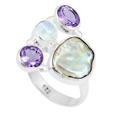 9.63cts natural white pearl moonstone 925 sterling silver ring size 7.5 m89710