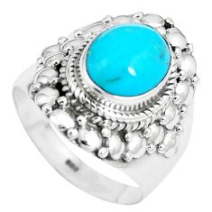 925 silver 4.71cts natural blue kingman turquoise solitaire ring size 7 m89824