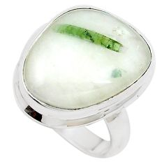 14.88cts natural tourmaline in quartz 925 silver solitaire ring size 8.5 m91802