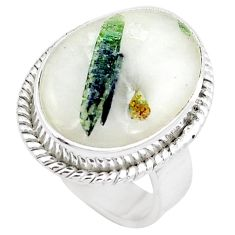 15.76cts natural tourmaline in quartz 925 silver solitaire ring size 5.5 m91815
