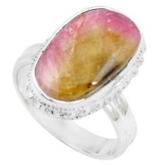 7.66cts natural pink bio tourmaline 925 silver solitaire ring size 8 m91831