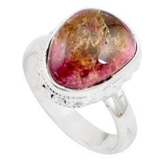 6.84cts natural pink bio tourmaline 925 silver solitaire ring size 6.5 m91837