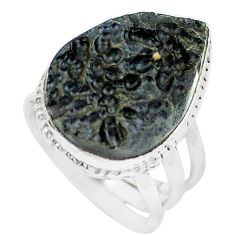 15.16cts natural black tektite 925 silver solitaire ring jewelry size 7 m91857