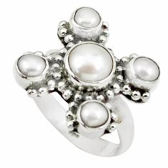5.31cts natural white pearl 925 sterling silver ring jewelry size 7 m92007
