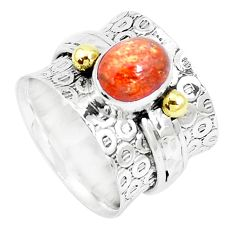 3.08cts natural sunstone 925 silver two tone solitaire ring size 6.5 m92549