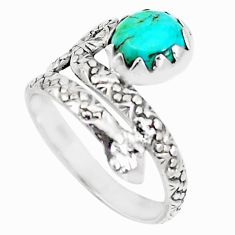 3.62cts arizona mohave turquoise 925 silver snake solitaire ring size 8 m92767