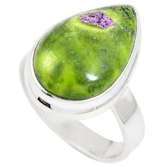9.45cts natural green atlantisite pear 925 silver solitaire ring size 6.5 m93031