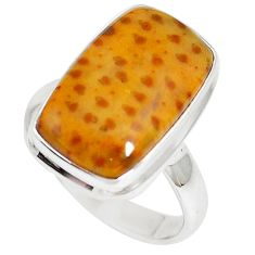 925 silver 10.60cts natural brown plum wood jasper solitaire ring size 8 m93033