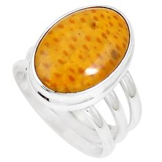 9.03cts natural brown plum wood jasper 925 silver solitaire ring size 6.5 m93036