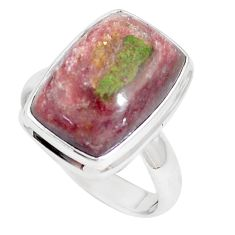11.93cts natural eclogite muscovite 925 silver solitaire ring size 9 m93082