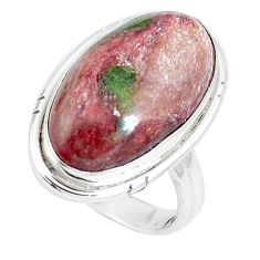 13.55cts natural eclogite muscovite 925 silver solitaire ring size 7 m93086