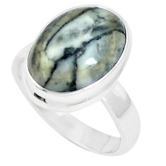 8.22cts natural white pinolith 925 silver solitaire ring jewelry size 7 m93119