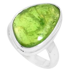 12.83cts natural green vasonite 925 silver solitaire ring jewelry size 7 m93162