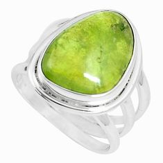 7.83cts natural green vasonite 925 silver solitaire ring jewelry size 6.5 m93163