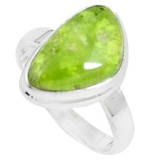 8.45cts natural green vasonite 925 silver solitaire ring jewelry size 9 m93165