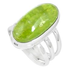 14.88cts natural green vasonite 925 silver solitaire ring jewelry size 8 m93168