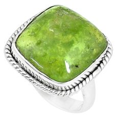 12.31cts natural green vasonite 925 silver solitaire ring size 7.5 m93171