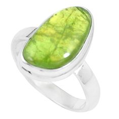7.40cts natural green vasonite 925 silver solitaire ring jewelry size 9 m93172